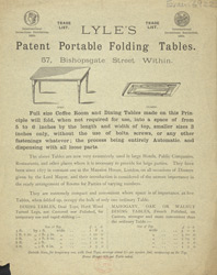Advert For Lyle's Portable Folding Table